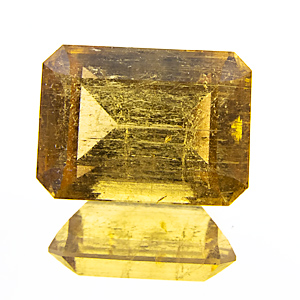 Yellow Tourmaline from Zambia. 2.03 Carat. Emerald Cut, very distinct inclusions