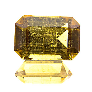 Yellow Tourmaline from Zambia. 2.13 Carat. beautiful colour. to the naked eye, inclusions are not nearly as prominent as on the enlarged photo