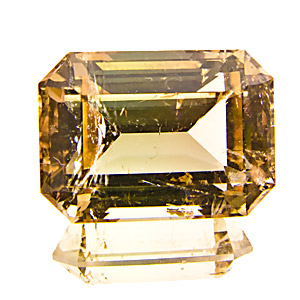 Yellow Tourmaline from Zambia. 6.75 Carat. very well cut + polished, very vivid gem. to the naked eye the inclusions are not nearly as prominent as on the enlarged photo