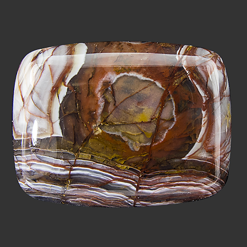 Crazy Lace Agate from Mexico. 1 Piece. Cabochon Cushion, opaque