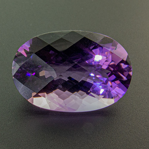Amethyst from Brazil. 24.71 Carat. Oval Checkerboard, eyeclean