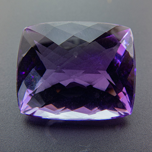 Amethyst from Brazil. 19.03 Carat. Cushion Checkerboard, eyeclean