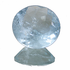 Aquamarine from Africa. 5.23 Carat. Round, very distinct inclusions