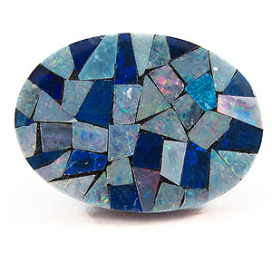 Opal Mosaic Doublet from Australia. 1 Piece. Oval Plate, opaque