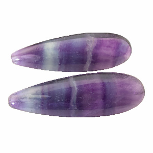 Fluorite. 1 Pair. Teardrop Oval, very distinct inclusions