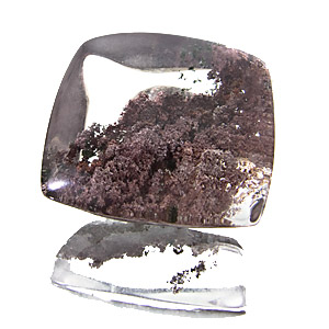 Lodolite from Brazil. 21.55 Carat. Cabochon Cushion, very distinct inclusions