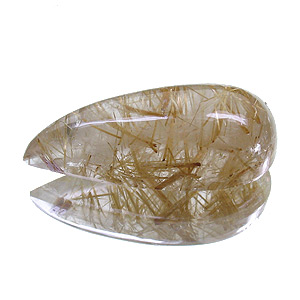 Rutilated Quartz from Brazil. 5.9 Carat. Cabochon Pear, very distinct inclusions