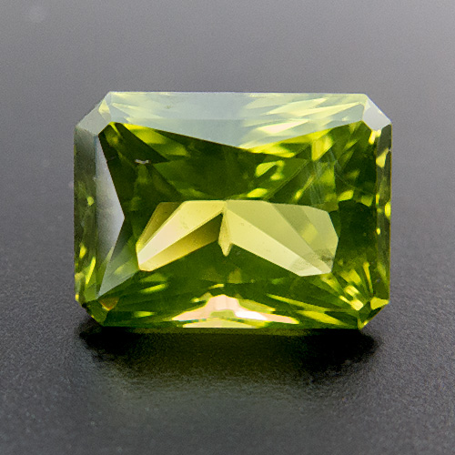 Peridot from Myanmar. 1.5 Carat. Radiant, very small inclusions