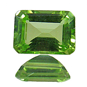 Peridot. 1 Piece. Emerald Cut, very very small inclusions