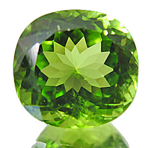 Peridot from Pakistan. 4.54 Carat. Cushion, small inclusions