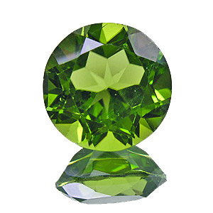Peridot. 6.54 Carat. Round, very small inclusions