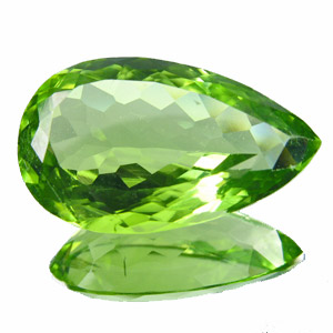 Peridot from Pakistan. 6.33 Carat. Pear, very small inclusions