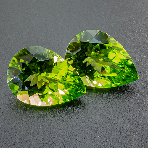 Peridot from China. 11.21 Carat. Fine quality, excellent pair