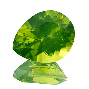 Peridot. 2.57 Carat. Pear, very small inclusions