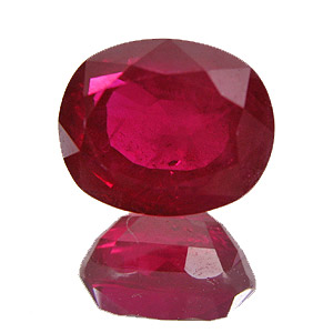 Ruby from Myanmar. 2.2 Carat. Oval, very distinct inclusions