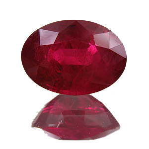 Ruby from Myanmar. 1.28 Carat. Oval, distinct inclusions