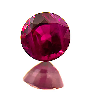 Ruby from Myanmar. 0.88 Carat. Round, very distinct inclusions
