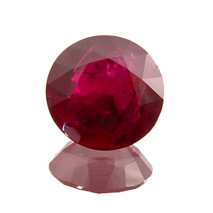 Ruby from Mozambique. 1.12 Carat. Round, distinct inclusions
