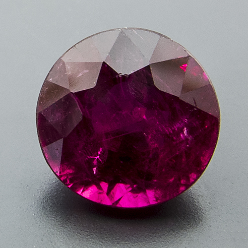 Ruby from Mozambique. 1.06 Carat. Round, very distinct inclusions