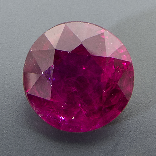 Ruby from Mozambique. 1.19 Carat. Round, very distinct inclusions