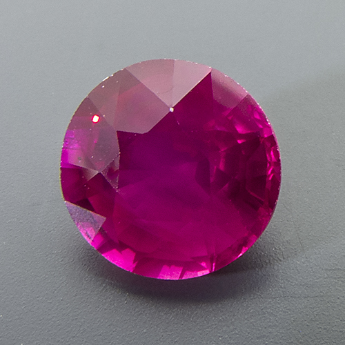 Ruby from Mozambique. 1.28 Carat. Round, very distinct inclusions