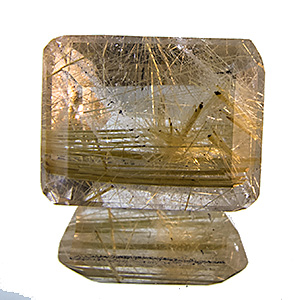 Rutilated Quartz from Brazil. 2.74 Carat. Emerald Cut, very distinct inclusions