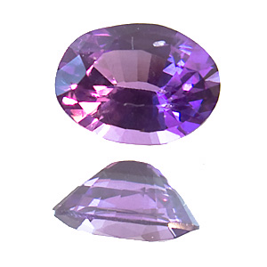 Purple Sapphire. 0.38 Carat. Oval, very very small inclusions