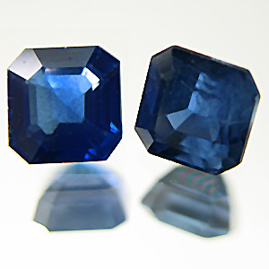 Sapphire from Thailand. 1.32 Pair. Emerald Cut, small inclusions