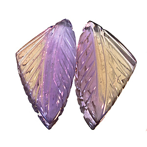 Ametrine from Bolivia. 1 Pair. handcarved in india, total weight 26.82cts