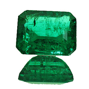 Emerald from Zambia. 1.54 Carat. Emerald Cut, distinct inclusions