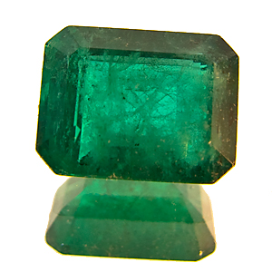 Emerald from Zambia. 1.46 Carat. Emerald Cut, very distinct inclusions