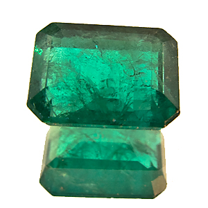 Emerald from Zambia. 1.53 Carat. Emerald Cut, very distinct inclusions