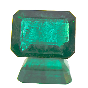Emerald from Zambia. 1.57 Carat. Emerald Cut, very distinct inclusions