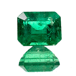 Emerald from Zambia. 1.62 Carat. Emerald Cut, distinct inclusions