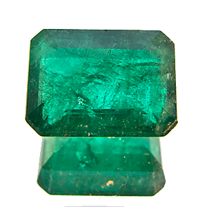 Emerald from Zambia. 1.63 Carat. Emerald Cut, very distinct inclusions