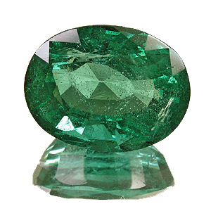 Emerald from Zambia. 3.48 Carat. Oval, distinct inclusions