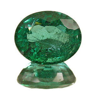 Emerald from Zambia. 3.57 Carat. Oval, distinct inclusions