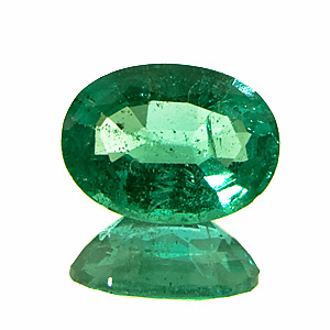 Emerald from Zambia. 1.04 Carat. Oval, distinct inclusions