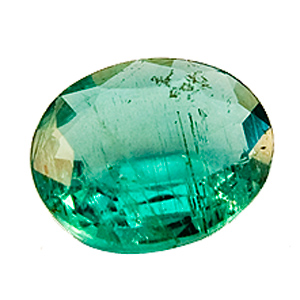 Emerald from Zambia. 0.44 Carat. very shallow pavilion, looks heavier than it is