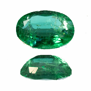 Emerald from Zambia. 1 Piece. Oval, distinct inclusions