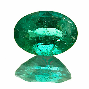 Emerald from Zambia. 1.01 Carat. Oval, very distinct inclusions