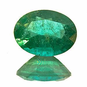 Emerald from Zambia. 1.07 Carat. Oval, very distinct inclusions