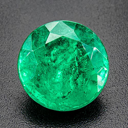 Emerald from Zambia. 4.07 Carat. Unusual size. Round emeralds are not often cut this large. Fine colour, too.