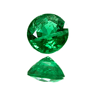Emerald from Zambia. 0.51 Carat. Round, very distinct inclusions