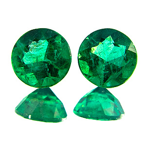 Emerald from Brazil. 1.15 Carat. very good, vivid pair
