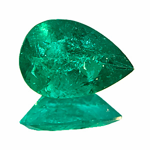 Emerald from Colombia. 1.05 Carat. Pear, very distinct inclusions