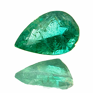 Emerald from Zambia. 1 Piece. Pear, very distinct inclusions