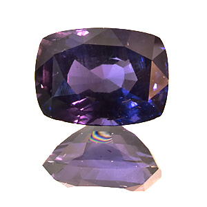 Spinel from Sri Lanka. 3.7 Carat. very rare deep purplish blue colour, shows a weak colour change effect, with a certificate of the Gem Testing Laboratory of Jaipur, India