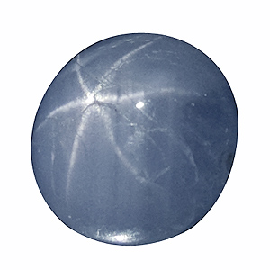 Star Sapphire from Sri Lanka. 2.86 Carat. shows some natural, surface reaching cracks, which hardly detract from it´s beauty. sharp and well-defined star