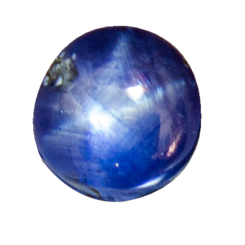 Star Sapphire from Sri Lanka. 3.86 Carat. Very good star + colour. This gem would easily fetch double price or more, if it were not for that inclusion...